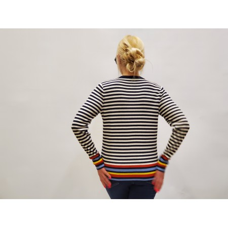 Джемпер Цвет белый\синий\красный\желтый\голубой, полоска  Состав 60% merino wool 35% modal 5% cachemira