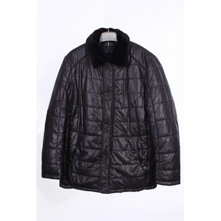 Куртка мужская  /внутренний материал холлофайбер/ Цвет черный, мех кроль  Состав 100% polyester, подкладка 80% cotton 20% polyester