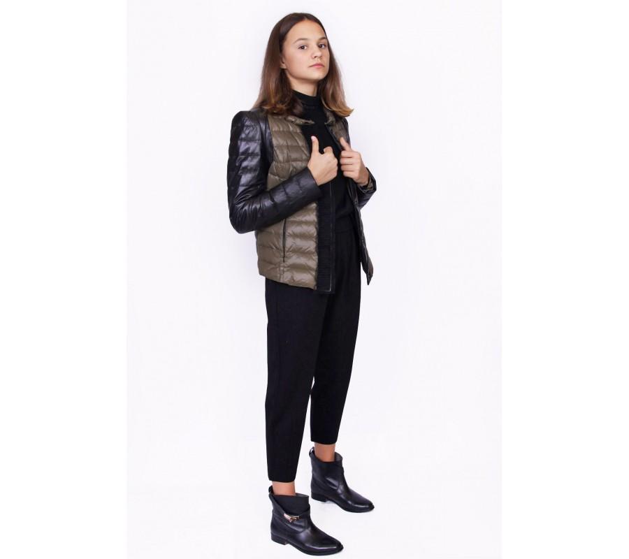 Jacket nylon with leather sleeves producer Ukraine
