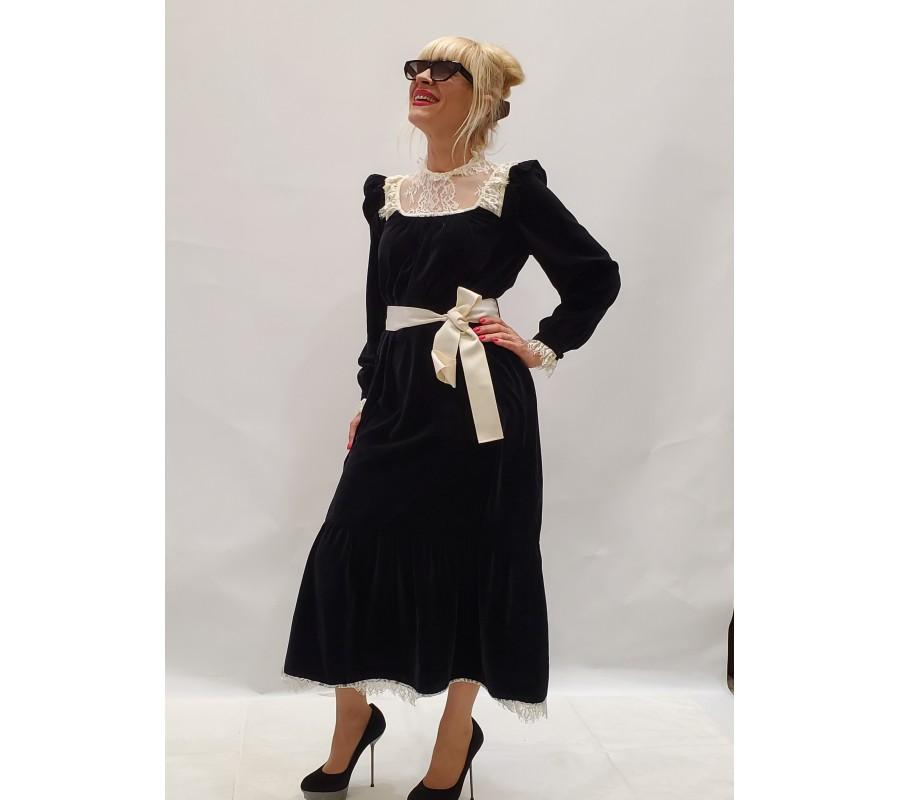 Velvet dress with white lace Ukraine