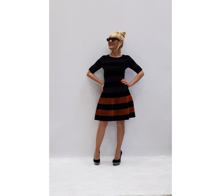 Dress black in a brown strip